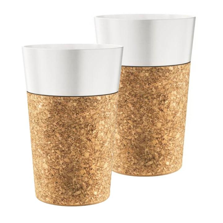 Tasse jumbo Bistro 0,6l, porcelaine / liège (lot de2) par Bodum