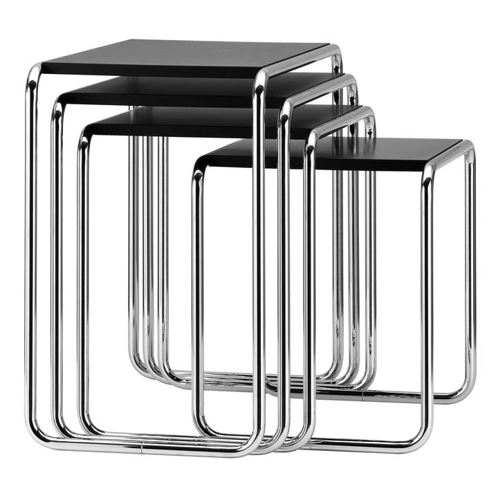 Set de table gigogne B 9 de Thonet en chrome / laque de finition en noir profond (RAL 9005) :