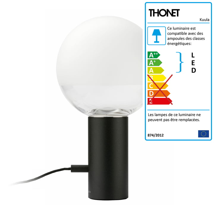 Lampe de table LED Kuula par Thonet en noir