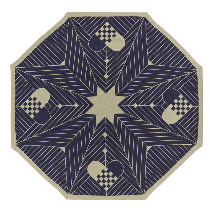 Tapis pour sapin de Noël Octagon 130x130cm par Georg Jensen Damask en bleu et or