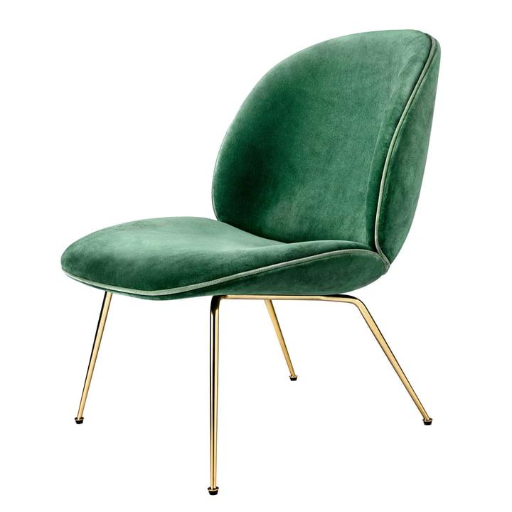 Chaise lounge Beetle, Conic Base laiton par Gubi en velours (vert)