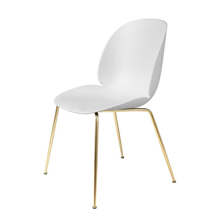 Dining Chair Beetle base conique par Gubi en laiton / blanc