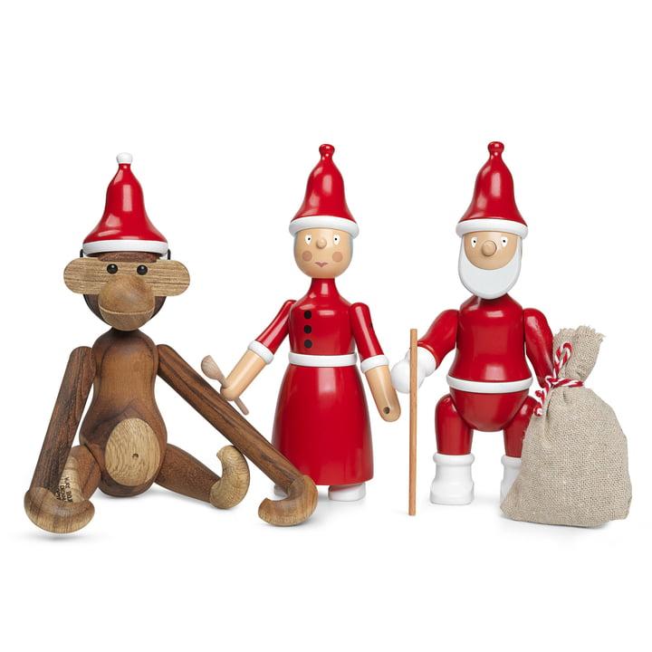 Singe en bois avec chapeau pointu, mère Noël et père Noël par Kay Bojesen