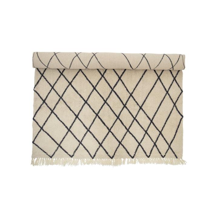 Tapis en laine 300 x 200 cm à motif de losanges de Bloomingville couleur beige / noire