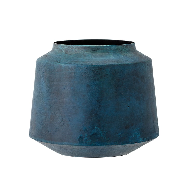 Bloomingville - Vase en métal H15cm, bleu