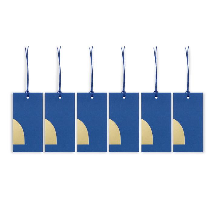 ferm Living - Étiquettes cadeaux Art, bleu (lot de 6)