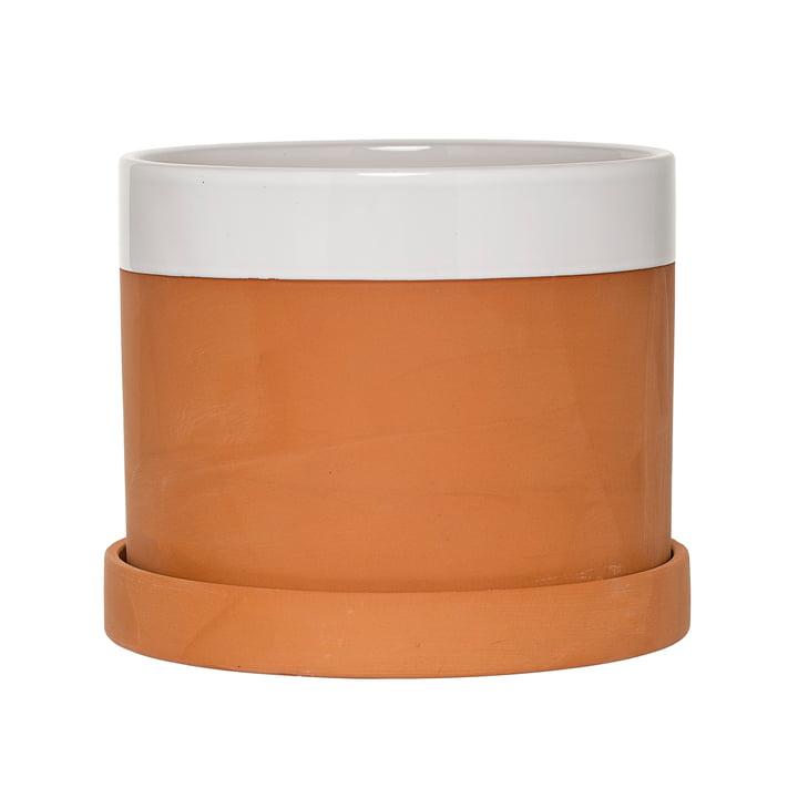 Bloomingville - Pot de fleur en terre cuite avec soucoupe en blanc / terre cuite