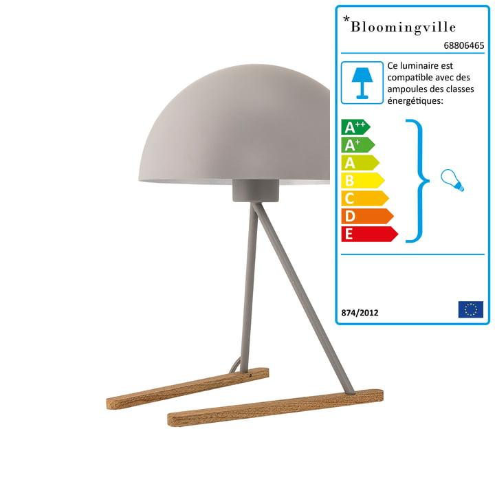 Lampe de table de Bloomingville en métal gris clair / chêne
