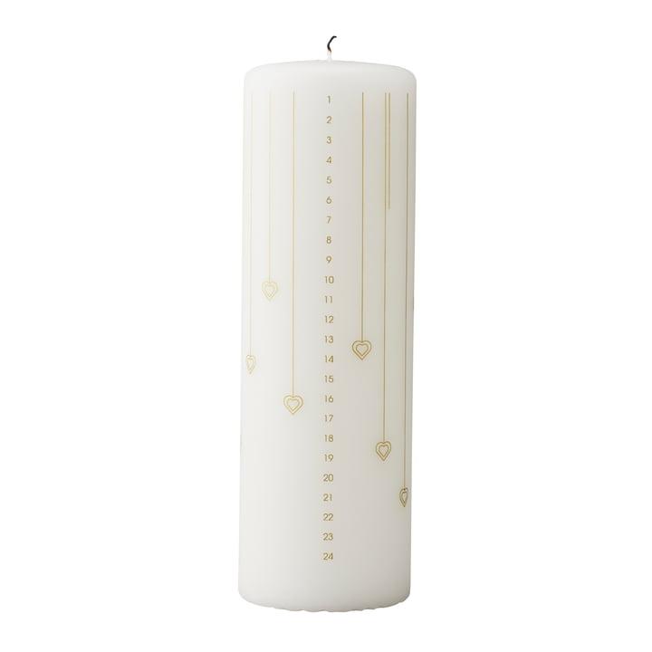 Bougie calendrier coeur par Stelton en blanc / or