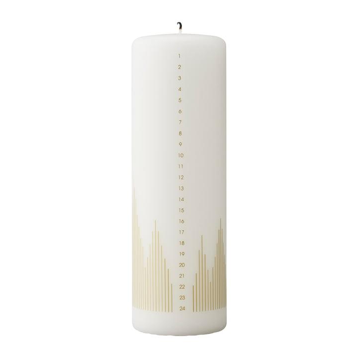 Stelton - Bougie calendrier sapin de Noël, blanc / or