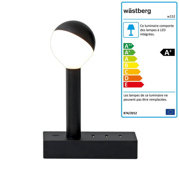 w152 Lampe de table Busby b1 par Wästberg en noir