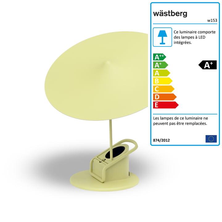 Lampe de table w153 île par Wästberg en jaune clair