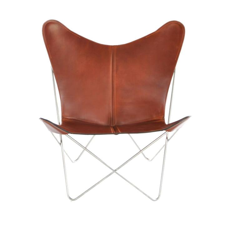 Ox Denmarq - Chair Trifolium, acier inoxydable / cuir cognac