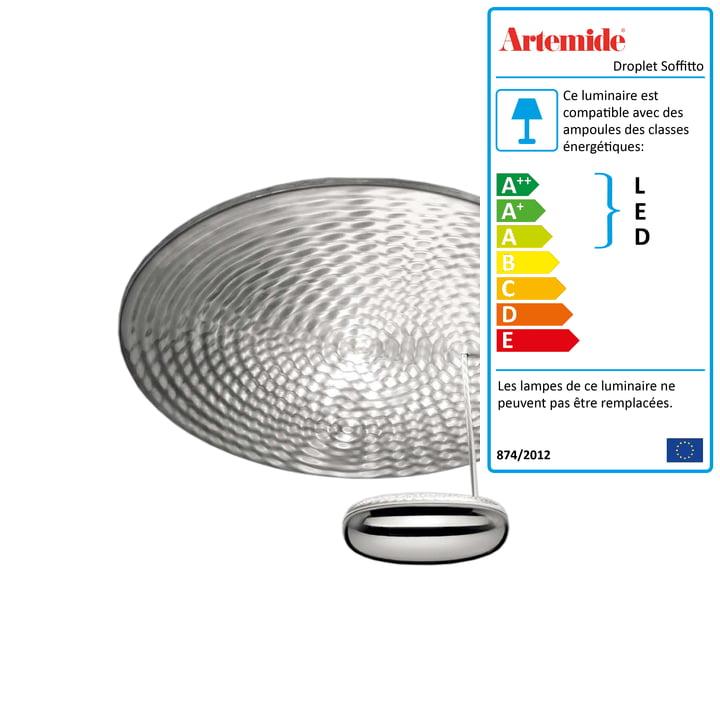 Artemide - Plafonnier à LED Droplet Soffitto, chrome / gris aluminium