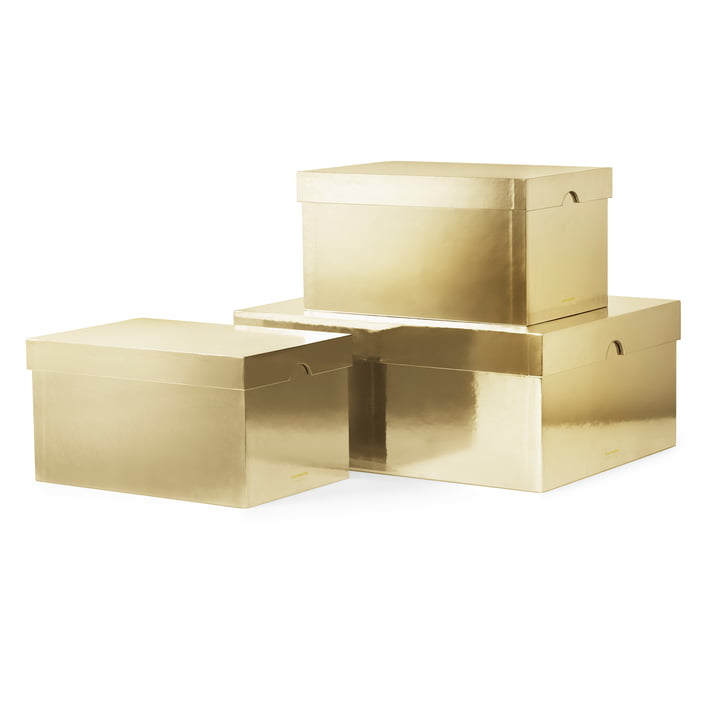 Les Metallic Boxes de Normann Copenhagen, doré (lot de 3)