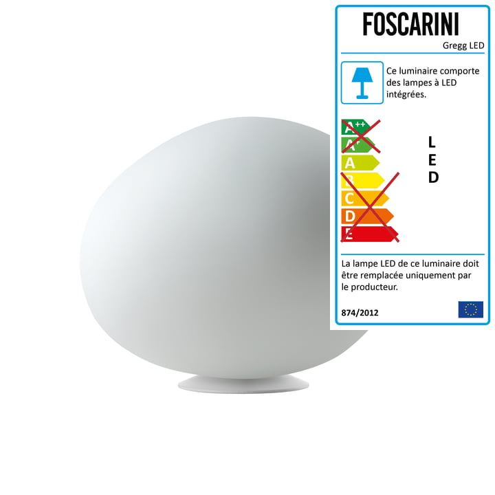 La lampe de table LED Gregg de Foscarini, midi/blanc