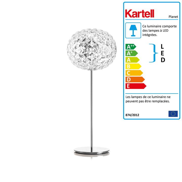 Le lampadaire LED Planet avec variateur de Kartell, H130cm / verre transparent