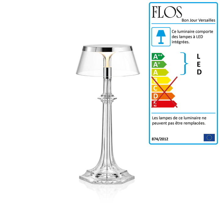 Lampe de table LED Bon Jour Versailles de Flos, Small, h 27,2 cm, en chromé/couronne transparente