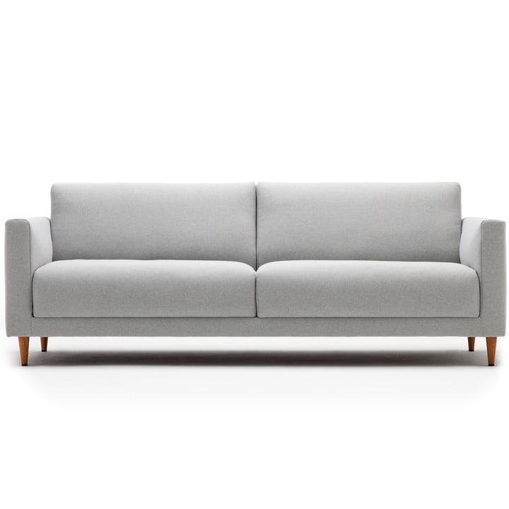 141 Canapé 3 places, L 190 cm, style libre, avec piétement conique chêne naturel / housse gris clair (3007)
