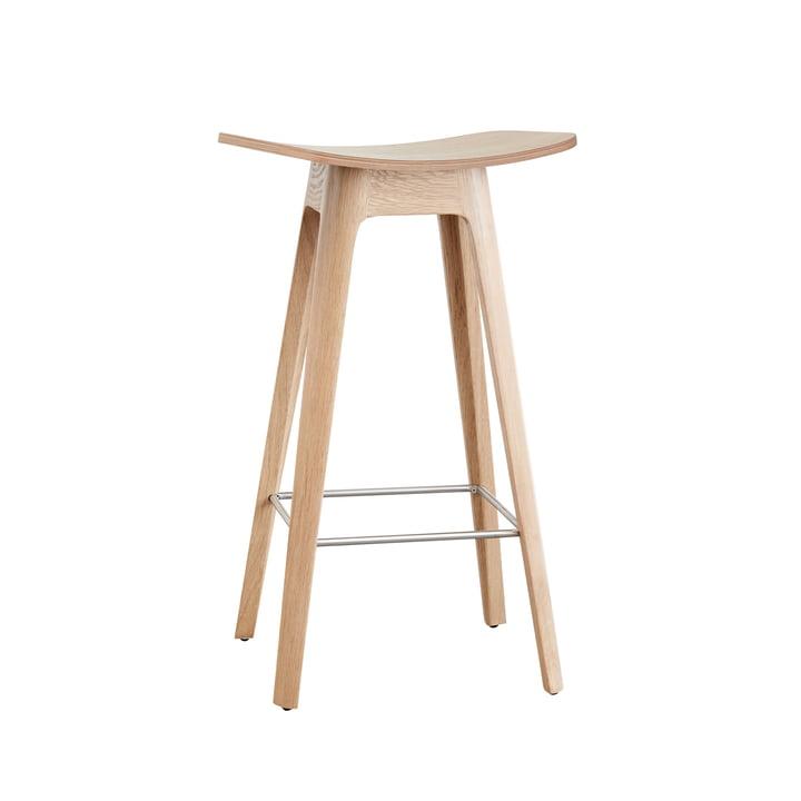 Andersen Furniture - le tabouret de bar HC1 H 67 cm, piètement en chêne / assise plaquée en chêne / acier inoxydable