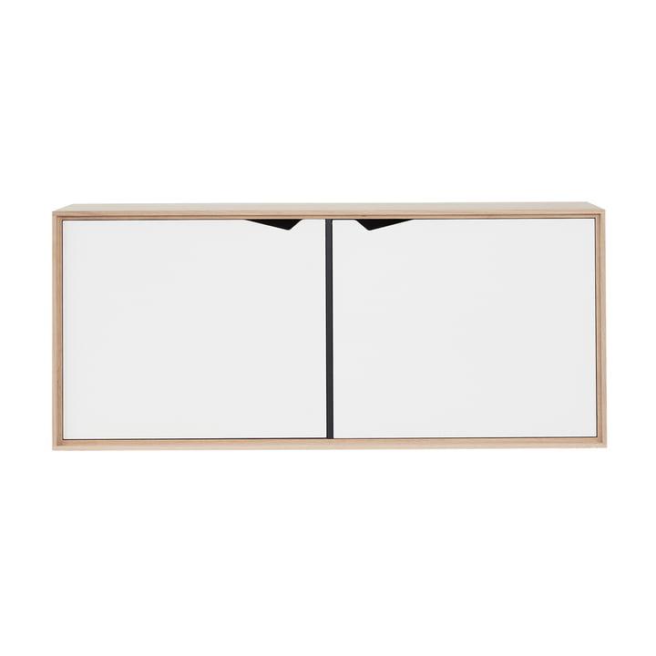 Le module à suspendre S2 d'Andersen Furniture avec 2 portes, chêne savonné / stratifié blanc