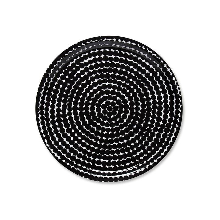 Marimekko - le plateau Räsymatto rond Ø 31 cm en noir / blanc