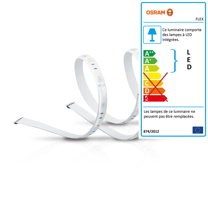 La bande LED SMART+ Flex 2P Multicolor RVBB d'Osram (2 x 60 cm)