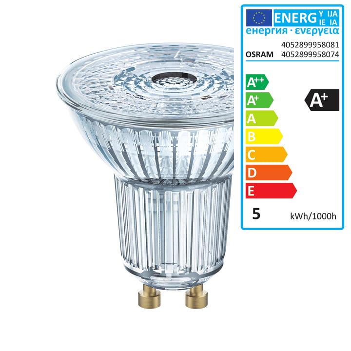 Osram - Ampoule à réflecteur Star PAR16 50 (36°) LED, GU10 / 4,3W, blanc chaud 2700K, 350lm, transparent