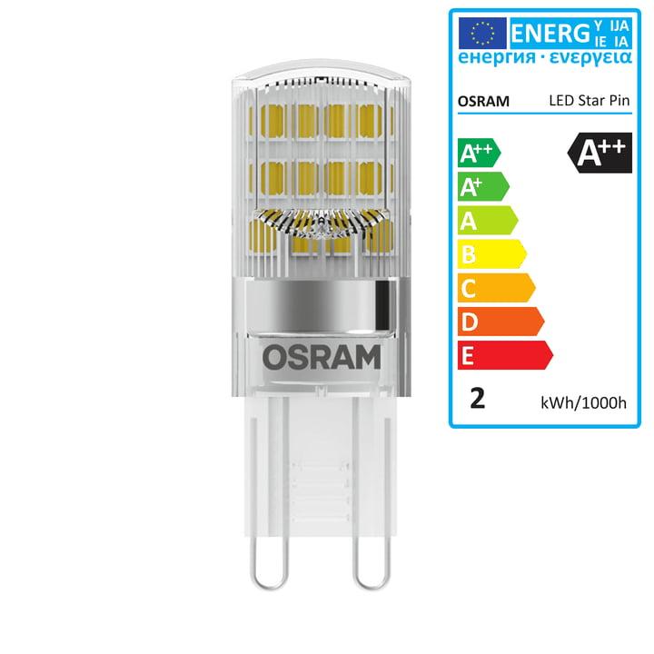 Osram - Ampoule Star Pin 20 LED, G9 / 230V, 1,9W, blanc chaud 2700K, 200lm, transparent