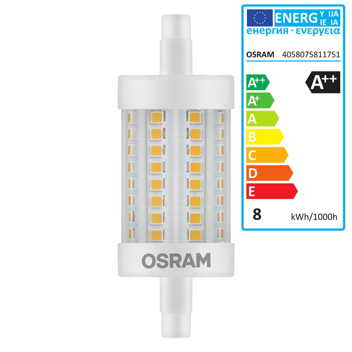 Osram - Ampoule Superstar Line 78 LED, R7s / 8 W, blanc chaud 2700 K, 1055 lm, transparent
