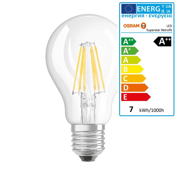 Osram - Ampoule Retrofit Classic A60 Filament LED, E27 / 6,5W, blanc chaud 2700K, 806lm, avec variateur / transparent