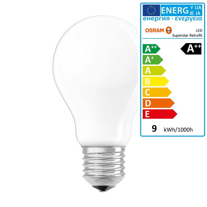 Osram - Ampoule Superstar Classic A75 Filament LED, E27 / 8,5W, blanc chaud 2700K, 1055lm, avec variateur / mate