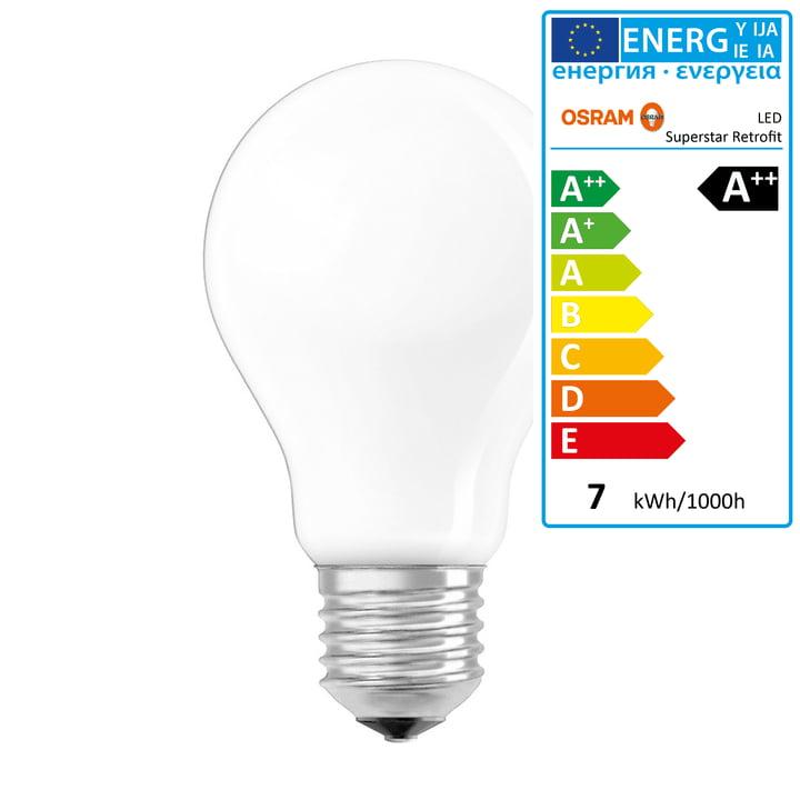 Osram - Ampoule Superstar Classic A60 Filament LED, E27 / 6,5W, blanc chaud 2700K, 806lm, avec variateur / mate