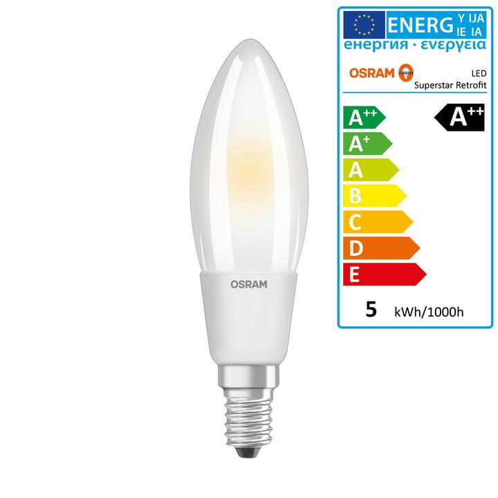 Osram - Ampoule Superstar Classic B50 Filament LED, E14 / 5 W, blanc chaud