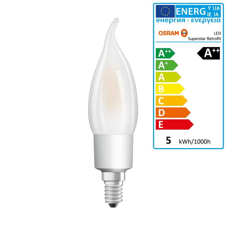 Osram - Ampoule Superstar Classic BA40 Filament LED, E14 / 4,5W, blanc chaud 2700K, 470lm, avec variateur / mate
