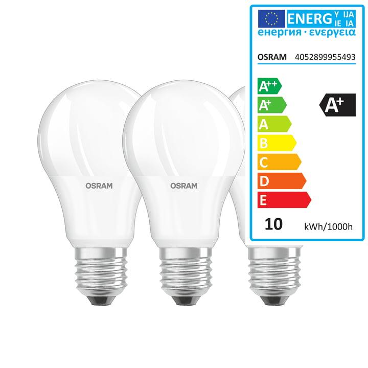 L'ampoule Base Retro LED A60 d'Osram, E27 / 9W, blanc chaud, 2700K, 806lm, mat (lot de 3)