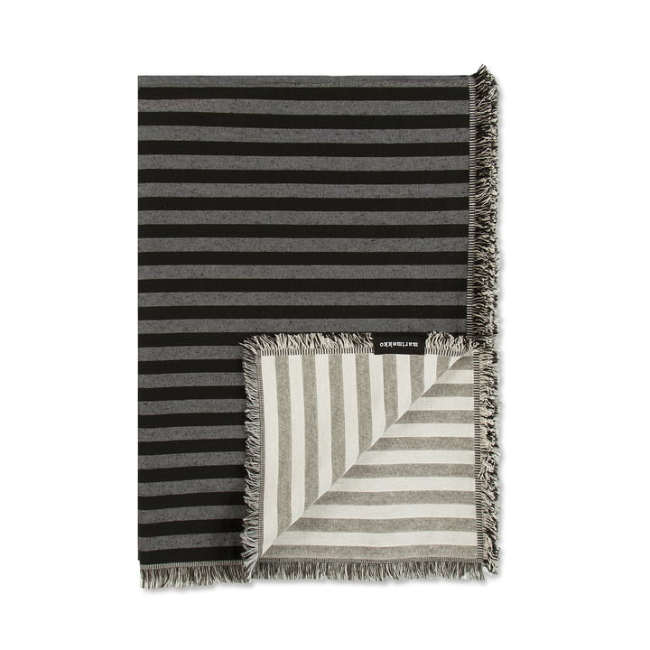 Couverture en laine Tasaraita 130x180cm de Marimekko en noir/gris