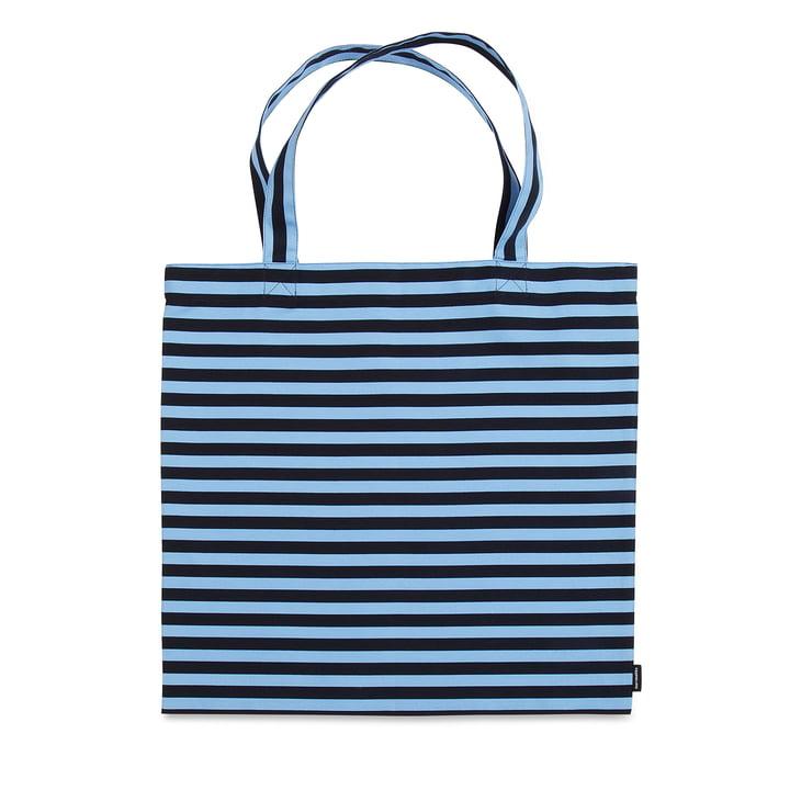 Sac de courses Tasaraita par Marimekko en bleu foncé / bleu clair