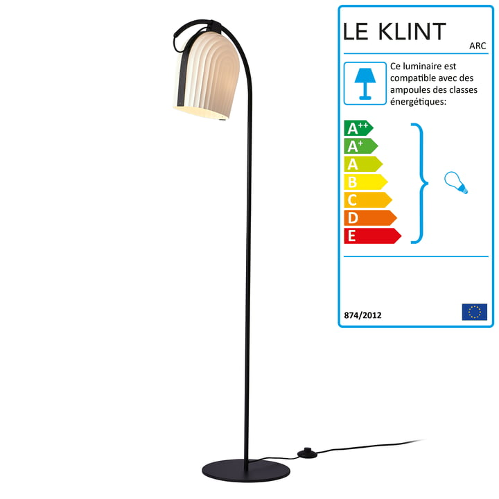 Lampadaire ARC par Le Klint en chêne noir / abat-jour blanc