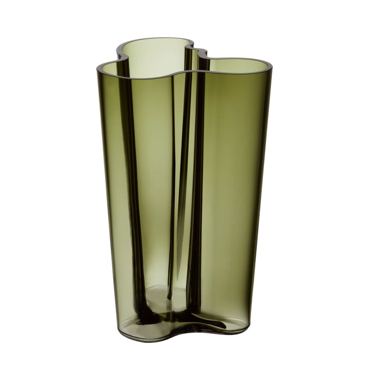 Vase Aalto Finlandia 251 mm par Iittala en vert mousse