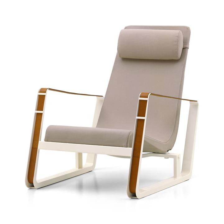 Le fauteuil Cité de Vitra, revêtement beige (Cité 01), piètement écru / sangle en cuir cognac
