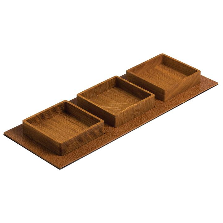 Kit Serving Tray, Square 44x16,5cm par LindDNA en chêne naturel / Bull naturel