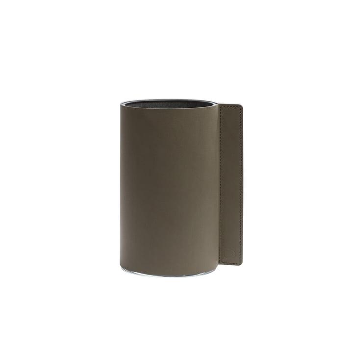 Vase Block S, Ø 7,5 x 15 cm, Nupo vert militaire / verre