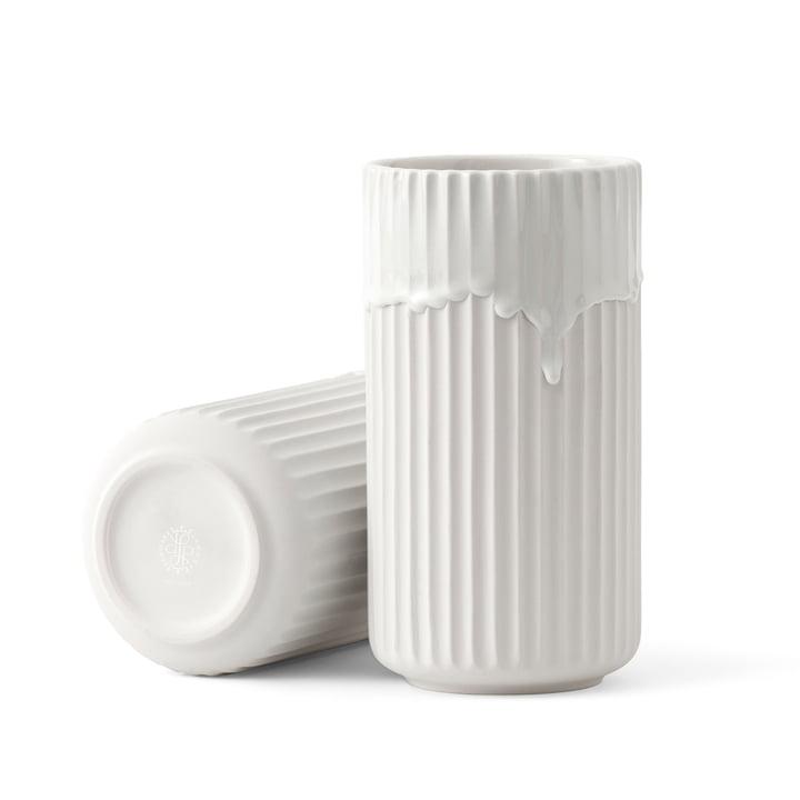Vase Lyngby avec coulée de vernis H20cm Lyngby Porcelæn en blanc