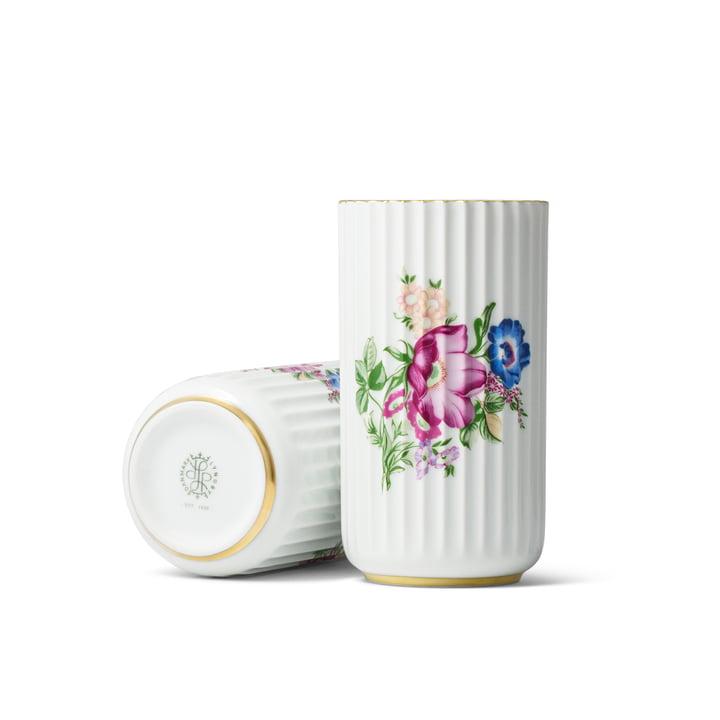 Vase Lyngby avec motif floral H15cm par Lyngby Porcelæn