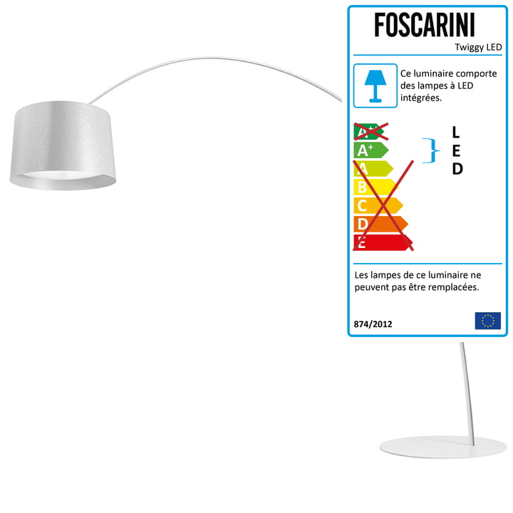 Le lampadaire arqué LED Twice as Twiggy de Foscarini avec variateur d'intensité, blanc