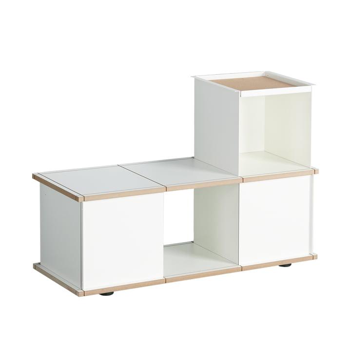 Le banc YU 3x1, MDF blanc / blanc de Konstantin Slawinski
