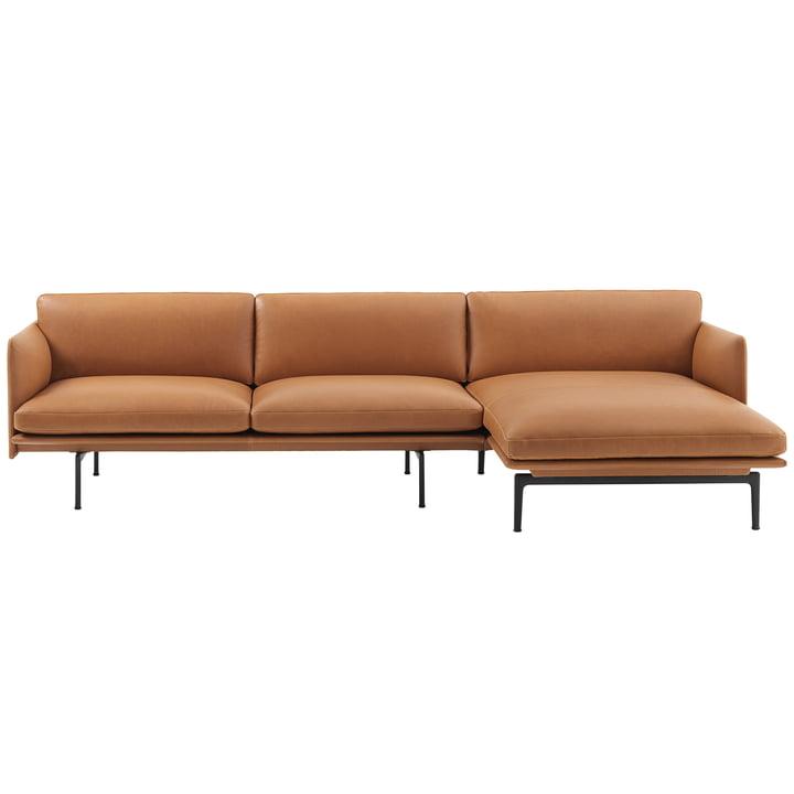 Schéma canapé d'angle 3 places droit de Muuto en cuir de soie cognac / noir (RAL 9017)
