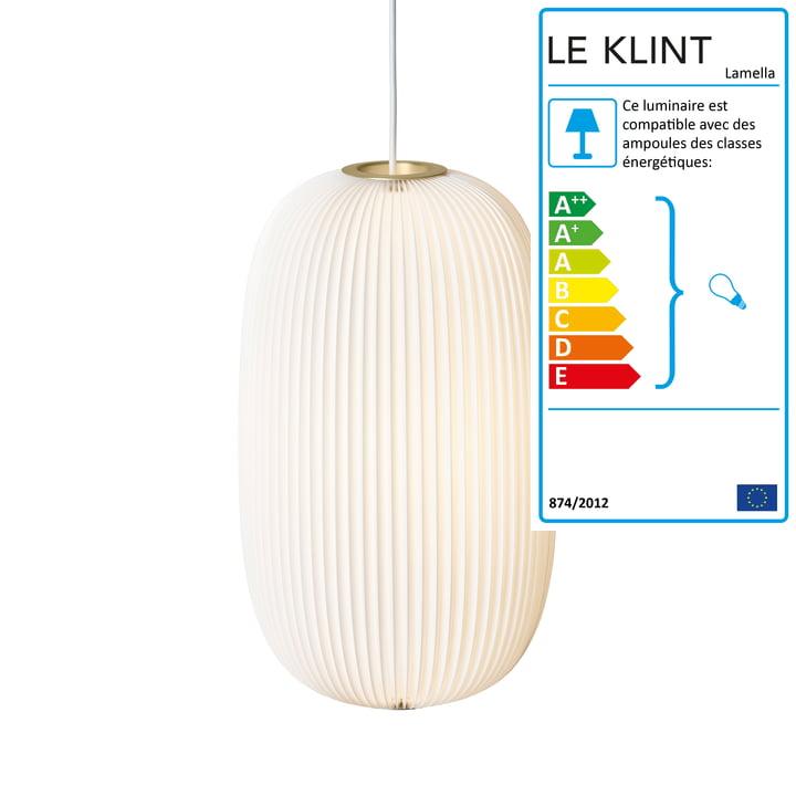 Le Klint - Lamella 2 suspension lumineuse, doré/blanc