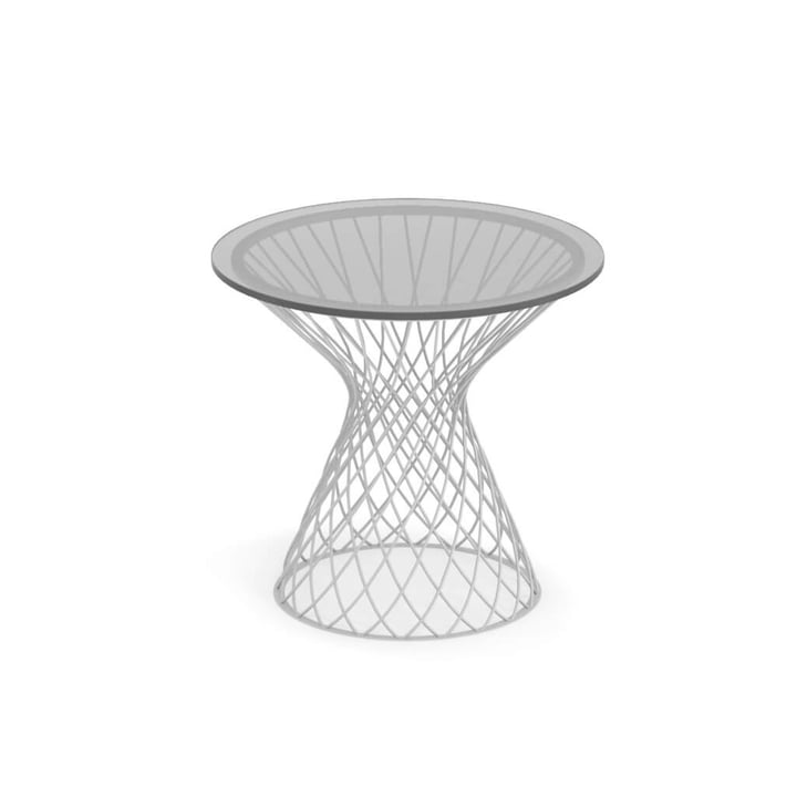 Emu - Table d'appoint Heaven H 47 cm, Ø 45 cm, blanc / verre transparent